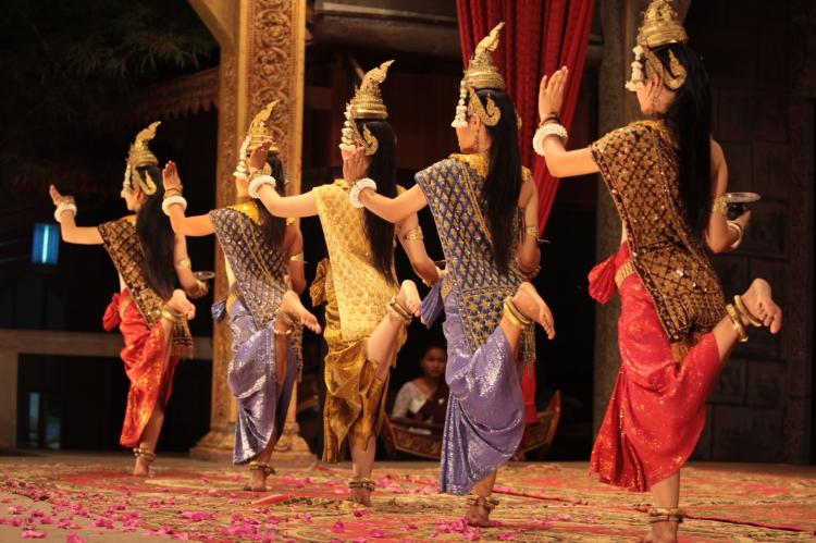 Dancers perform the ancient Aspara dance in Siem reap, Cambodia