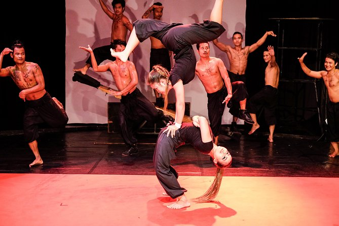 Two acrobats perform at the Phare Cambodian Circus
