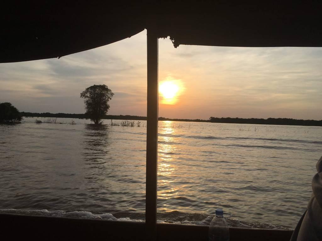 Boat ride over Tonle Sap Lake near Siem Reap, Cambodia